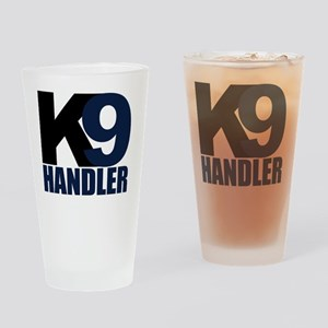 k9-handler02_black_blue Drinking Glass