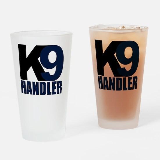 k9-handler02_black_blue Drinking Glass