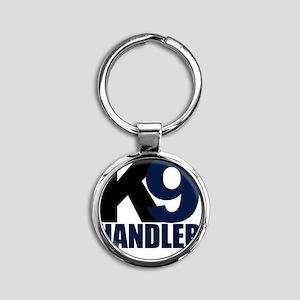 k9-handler02_black_blue Round Keychain
