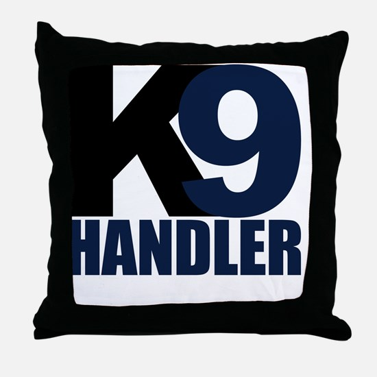k9-handler02_black_blue Throw Pillow