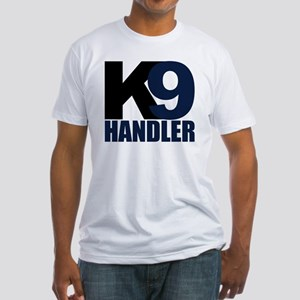k9-handler02_black_blue Fitted T-Shirt