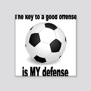 "SOCCER key to go offense bl Square Sticker 3"" x 3"""