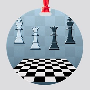 Chess Game Blue Round Ornament