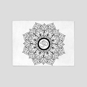 Om Hindu sacred sound symbol Mandal 5'x7'Area Rug