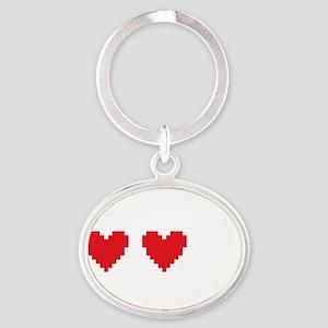 heartRuinedB Oval Keychain