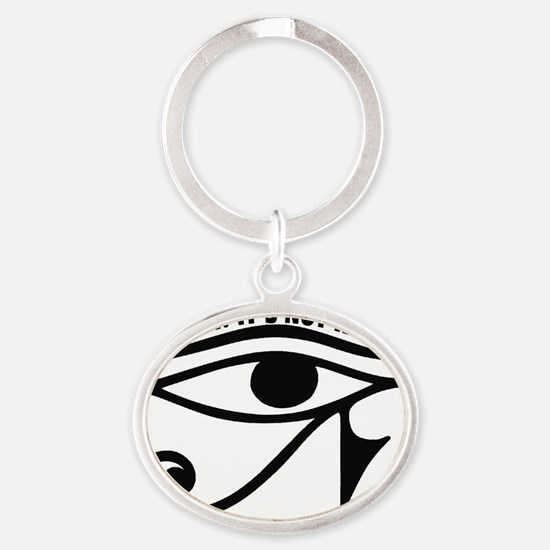 44EYEOFHORUS_SHHH Oval Keychain