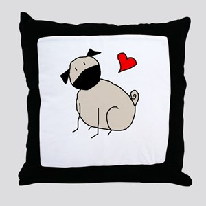 StickLuvPug Throw Pillow