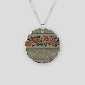 Ukrainian Embroidery Necklace Circle Charm
