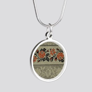 Ukrainian Embroidery Silver Round Necklace