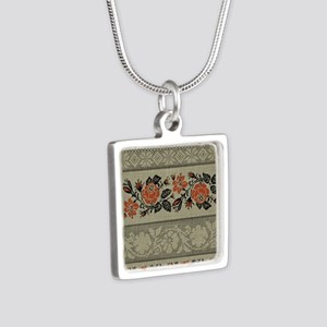 Ukrainian Embroidery Silver Square Necklace