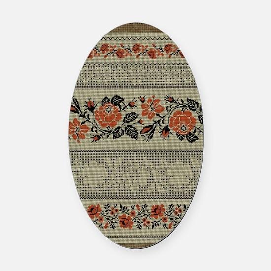 Ukrainian Embroidery Oval Car Magnet