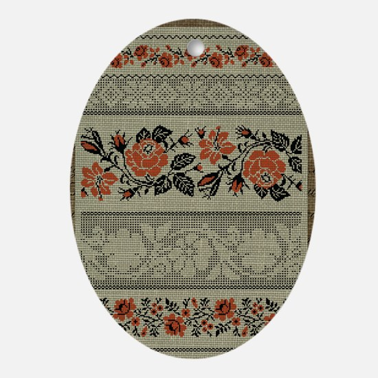 Ukrainian Embroidery Oval Ornament