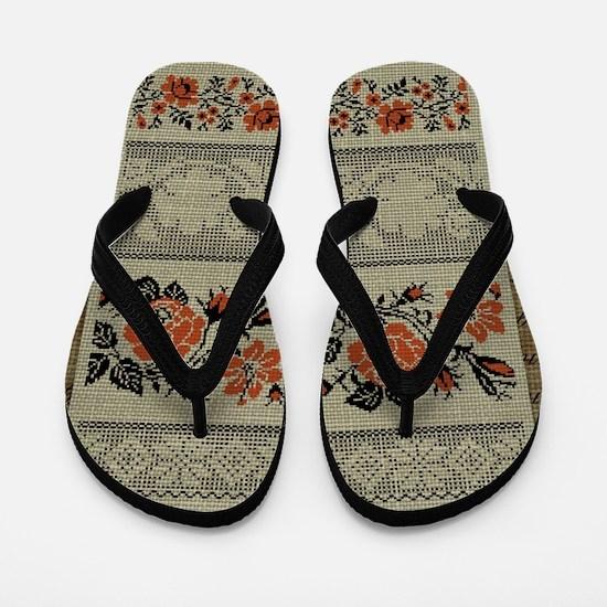 Ukrainian Embroidery Flip Flops