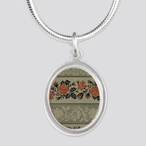 Ukrainian Embroidery Silver Oval Necklace