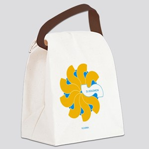 dj solomon Florish blue Yellow Canvas Lunch Bag