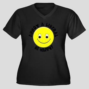 Annoy a Libe Women's Plus Size Dark V-Neck T-Shirt