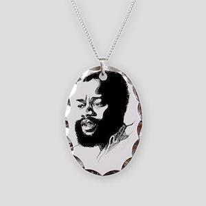 Ojukwu sketch white Necklace Oval Charm