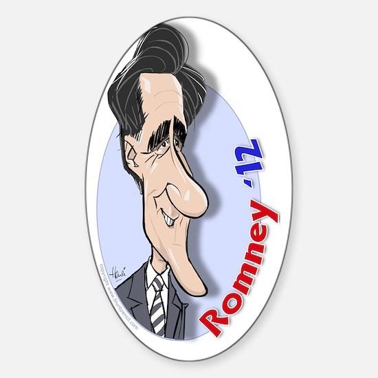 romney-cartoon-3by-henri-goldsmann Sticker (Oval)