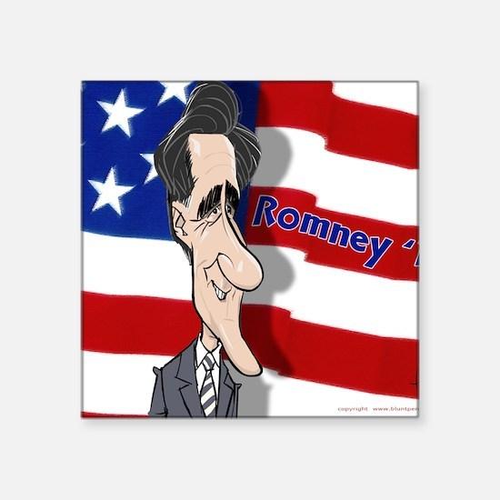 "Romney-cartoon-Mousepad by- Square Sticker 3"" x 3"""