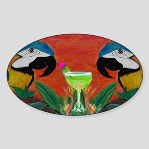 Parrots  Margarita Sticker (Oval)