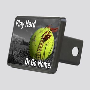 softball play hard or go h Rectangular Hitch Cover