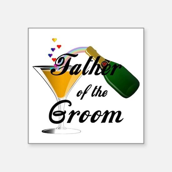 "father of groom black Square Sticker 3"" x 3"""