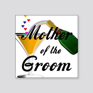 """mother of groom black Square Sticker 3"""" x 3"""""""