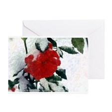 Red Rose in Winter Series-Greeting Cards
