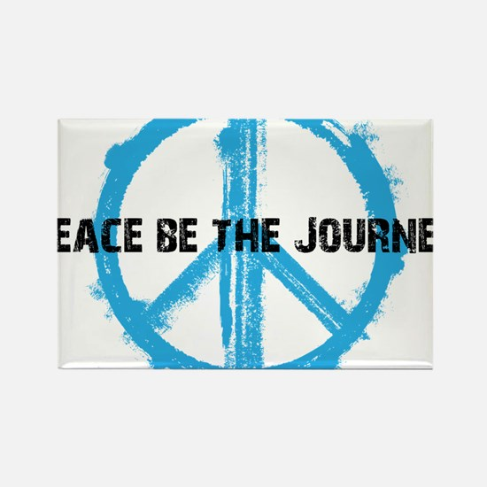 Peace be the journey - Blue White Rectangle Magnet