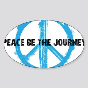 Peace be the journey - Blue White Sticker (Oval)