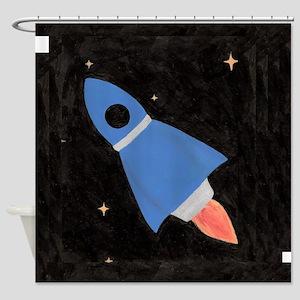 Blue Rocket Ship Shower Curtain