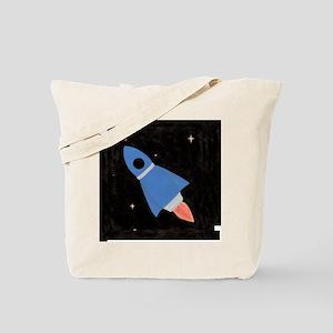 Blue Rocket Ship Tote Bag