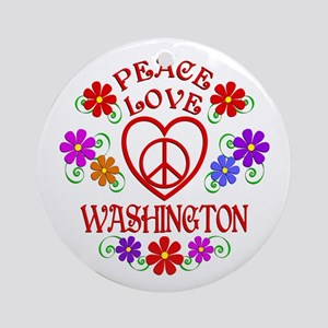 Peace Love Washington Round Ornament