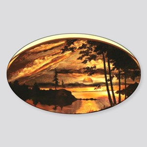 colored copper engraving Sticker (Oval)