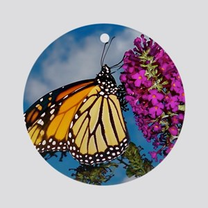 Monarch Butterfly Jigsaw Puzzle Round Ornament