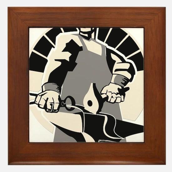 Black_smith_giant-grey Framed Tile