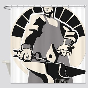 Black_smith_giant-grey Shower Curtain