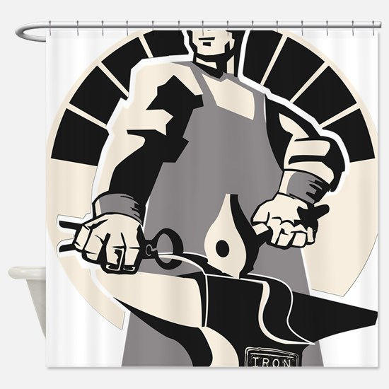 Black_smith_giant-grey Shower Curtain