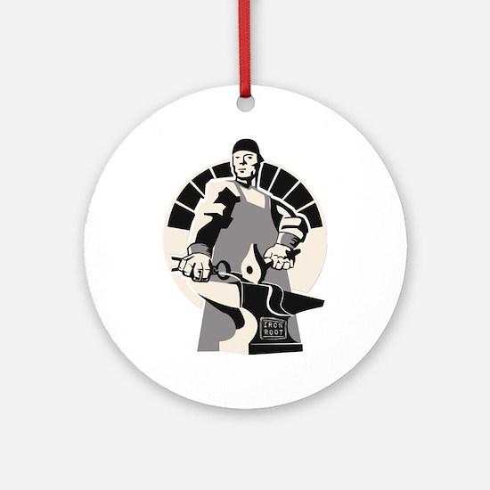 Black_smith_giant-grey Round Ornament