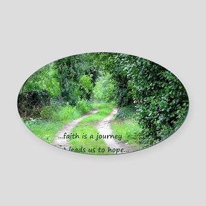 Faith is a Journey Oval Car Magnet