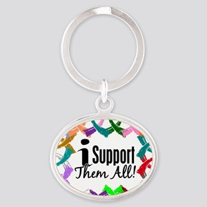 D All Ribbons 3 Oval Keychain