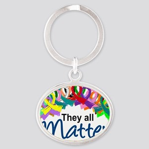 D All Ribbons 7 Oval Keychain