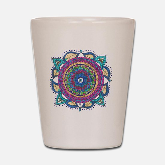 Medallion-Teal and Raspberry Shot Glass