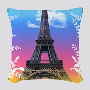 eiffel-tower-paris-france Woven Throw Pillow