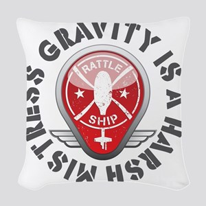 Rattleship Gravity Red Woven Throw Pillow