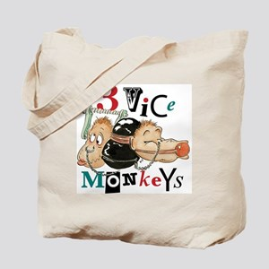 Three Vice Monkeys Tote Bag