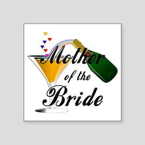 "mother of bride black Square Sticker 3"" x 3"""