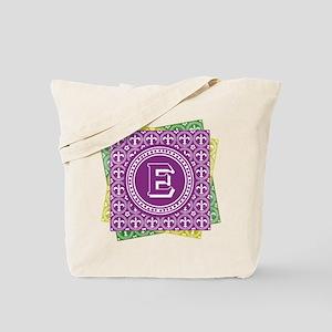 Letter E Mardi Gras Fleur De Lis Monogram Tote Bag