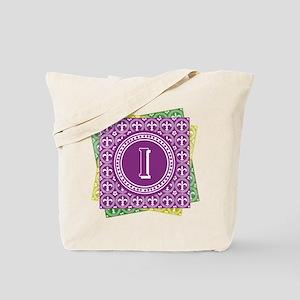 Letter I Mardi Gras Fleur De Lis Monogram Tote Bag