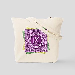 Letter K Mardi Gras Fleur De Lis Monogram Tote Bag